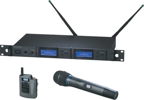 Audio-Technica AEW-5313AC Dual Wireless Microphone System with Bodypack Transmitter & AEW-T3300a Cardioid Condenser Mic/Transmitter, UHF Band C: 541.500 MHz to 566.375 MHz AEW-5313AC