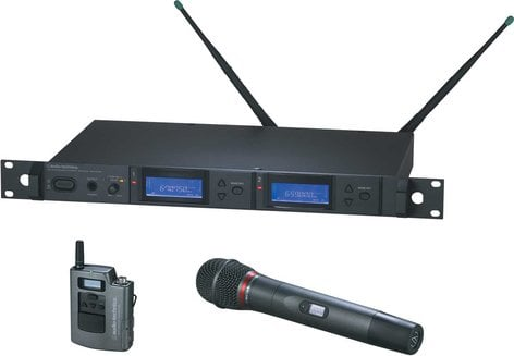 Audio-Technica AEW-5314AC Dual Wireless Microphone System with Bodypack Transmitter & AEW-T4100a Cardioid Dynamic Mic/Transmitter, UHF Band C: 541.500 MHz to 566.375 MHz AEW-5314AC