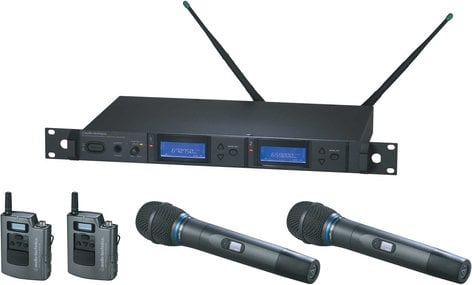 Audio-Technica AEW-5413AC Wireless Mic Microphone System with 2 x Bodypack Transmitters & 2 x AEW-T3300a Cardioid Condenser Mic/Transmitter, UHF Band C: 541.500 MHz to 566.375 MHz AEW-5413AC