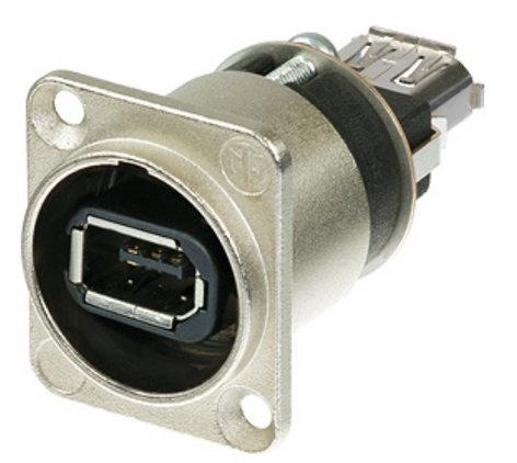 Neutrik NA1394-6-W Firewire 6 Receptacle with Nickel D-Housing NA1394-6-W
