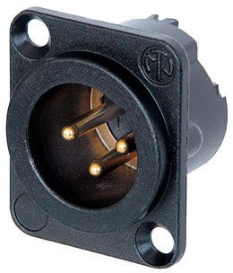 Neutrik NC3MD-LX-B  DLX Series 3-Pin XLR-M Panel-Mount Connector/Receptacle (with Solder Cups, Black Metal Housing, Gold Contacts) NC3MD-LX-B