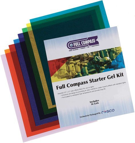 "Rosco Laboratories STARTER-GEL-KIT  (1023FCSGSKIT) Full Compass 10""x12"" Starter Gel Kit (Includes 16 Assorted 10""x12"" Color Effects Filters) 1023FCSGSKIT"