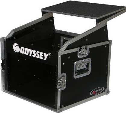 Odyssey FRGS806  Flight Ready Series Combo Rack Case (10 RU Slanted, 6 RU Vertical, with Sliding Laptop Platform) FRGS806