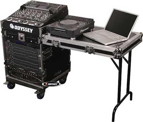 Odyssey FZ1112WDLX ATA Combo Rack with Wheels, Lid/Side Table (11 RU Slanted, 12 RU Vertical) FZ1112WDLX