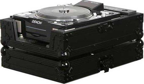 Odyssey FZCDJ-BL  Black Label ATA Flight Case for Large Format CD Turntable/Player for DJs (with All-Black Hardware) FZCDJ-BL