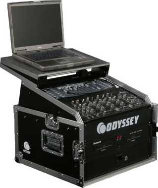 Odyssey FZGS1004 Glide Style Combo Rack Case (10 RU Slanted, 4 RU Vertical, with Sliding Laptop Platform) FZGS1004