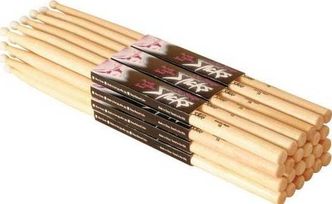 On-Stage Stands HN7A 12 Pairs of 7A Nylon Tip Hickory Drumsticks HN7A
