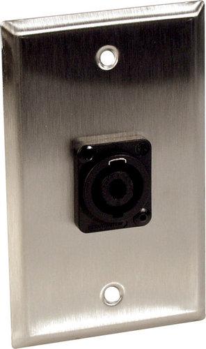 TecNec WPBA-1123  Wall Plate, Single Gang, With 1 Speakon Jack, Black WPBA-1123