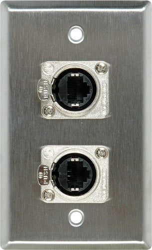 TecNec WPL-1166  1 Gang Steel Wall Plate with 2 RJ45S to Rear Krone Connectors WPL-1166