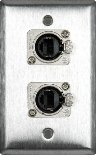 TecNec WPL-1182  Single Gang Wall Plate w/ Dual Ethercon Connectors WPL-1182