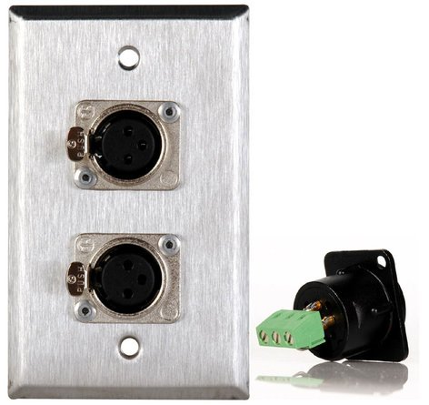 TecNec WPL1116TB  1 Gang Stainless Steel Wall Plate with 2 XLRF Connector WPL1116TB