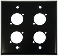 Pro Co WPUBA2011 Plateworks Dual-Gang Black Anodized Aluminum Wall Plate with 4x D-Series Punched Holes WPUBA2011