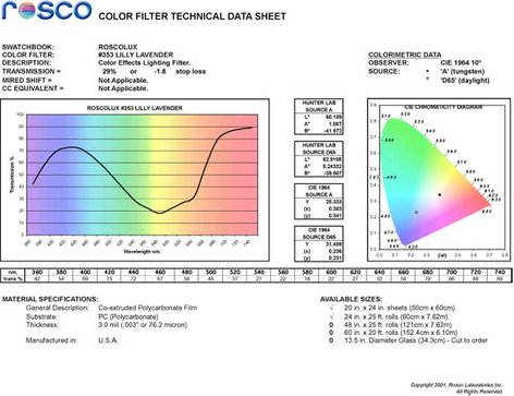 Rosco Laboratories 353-ROSCO  Roscolux Lilly Lavender Filter 353-ROSCO
