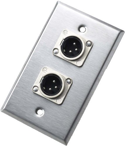 Neutrik 203M Single-Gang Wall Plate with 2x 3-Pin XLR-M Receptacles 203M