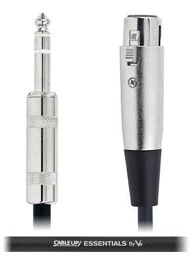 """Cable Up by Vu XF3-PM3-ES-1 1 ft 1/4"""" TRS Male to XLR Female Balanced Cable with Silver Contacts XF3-PM3-ES-1"""
