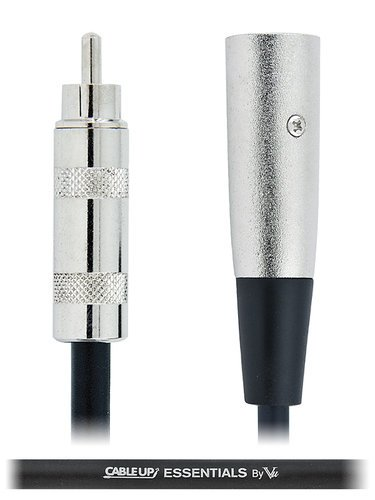 Cable Up by Vu XM3-RM-ES-20 20 ft XLR Male to RCA Male Unbalanced Cable with Silver Contacts XM3-RM-ES-20