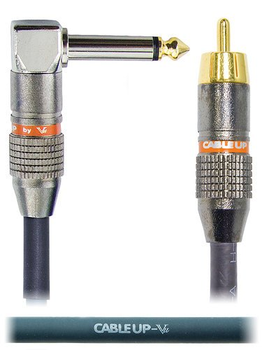 """Cable Up by Vu RM-PM2R-10 10 ft RCA Male to 1/4"""" Right Angle TS Male Unbalanced Cable RM-PM2R-10"""