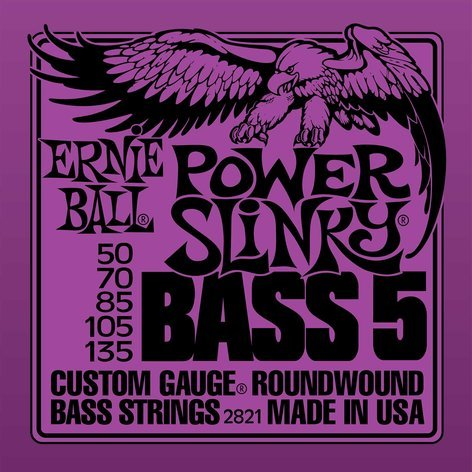 Ernie Ball P02821 Power Slinky 5-String Electric Bass Strings P02821