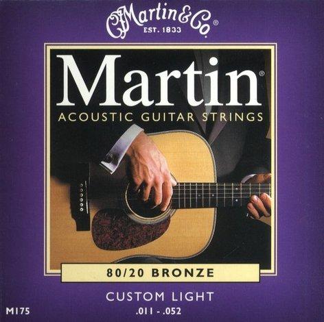 Martin Strings M175-MARTIN Custom Light 80/20 Acoustic Guitar Strings M175-MARTIN
