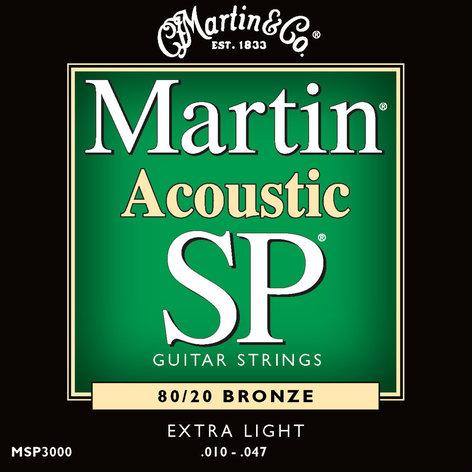 Martin Strings MSP3000 Extra Light Martin SP 80/20 Acoustic Guitar Strings MSP3000