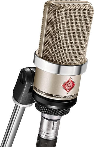 Neumann TLM 102 Large Diaphragm Cardioid Condenser Microphone in Satin Nickel Finish with SG 2 Swivel Stand Mount TLM102-NICKEL