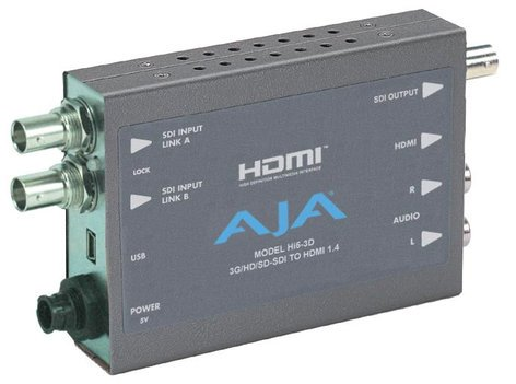 AJA Hi5-3D HD/3G-SDI to HDMI 1.4a Multiplexer with Power Supply HI5-3D