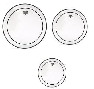 """Remo PP-0320-PS Pro Pack 3-Pack of Clear Pinstripe Heads for Toms: 12"""",13"""",16 with 14"""" Coated Ambassador Snare Drumhead PP-0320-PS"""