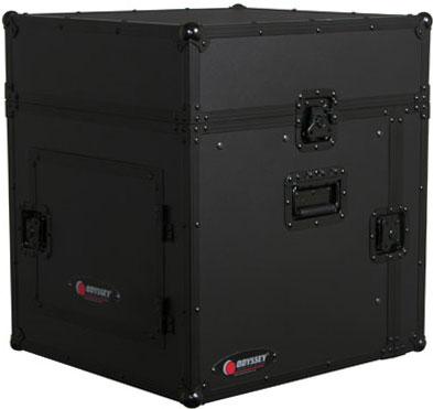 Black Label Flight Ready Glide-Style Combo Rack Case, 8RU Top, 8RU Bottom