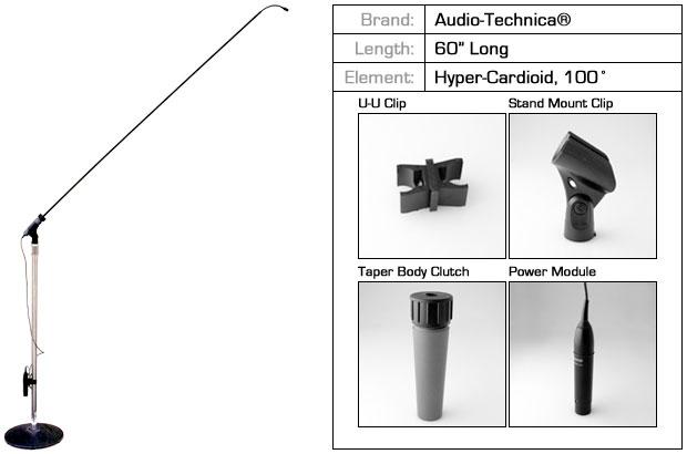 """60"""" Choir Microphone with 100º Audio Technica Hypercardioid Capsule"""