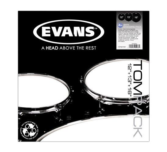 """Evans Tompack 3-Pack of Onyx 2 Standard Drumheads: 12"""",13"""",16"""" ETP-ONX2-S"""