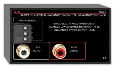 1-Channel Balanced to Unbalanced Audio Converter/Transformer