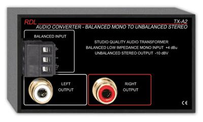 1-Channel Balanced to Unbalanced Audio Converter/Transformer