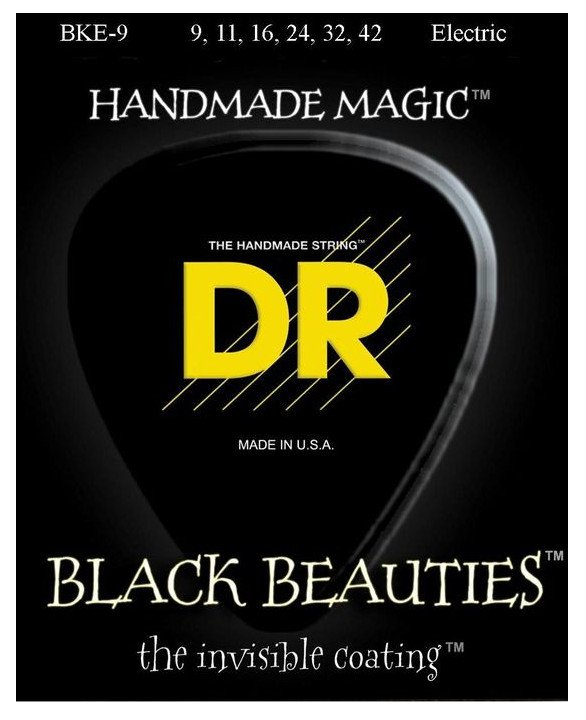 Light Extra-Life Black Beauties Coated Electric Guitar Strings