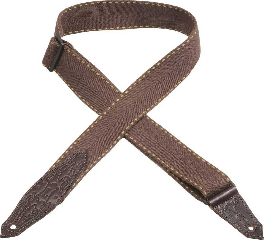 "Guitar Strap, 2"" Heavy-Weight Cotton w/Leather Ends"