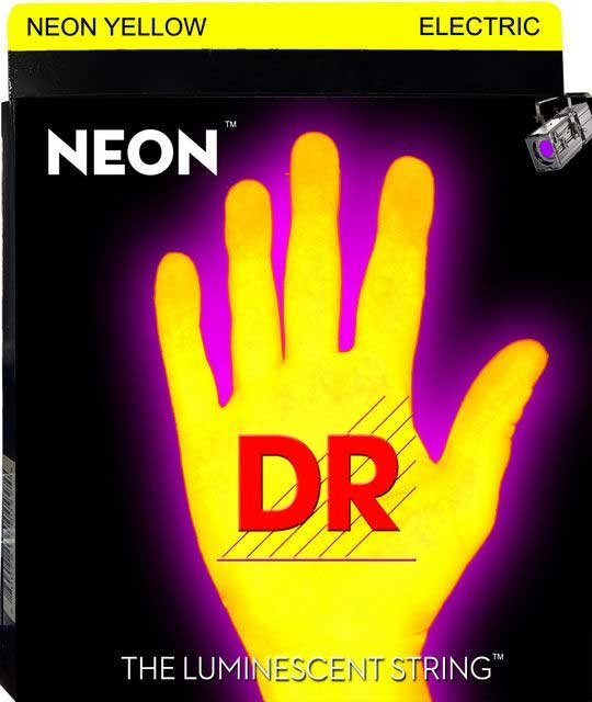 DR Strings NYE-9 Light NEON HiDef SuperStrings Electric Guitar Strings in Yellow NYE-9