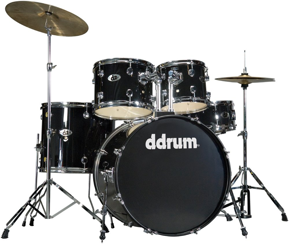 5 Piece Drum Set in Midnight Black with Cymbals & Hardware