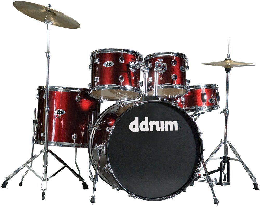 5 Piece Drum Kit in Blood Red with Hardware & Cymbals