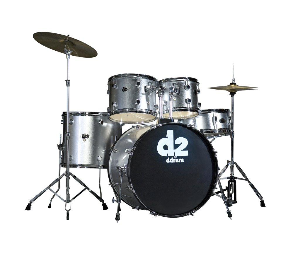 5 Piece Drum Kit in Brushed Silver with Cymbals & Hardware