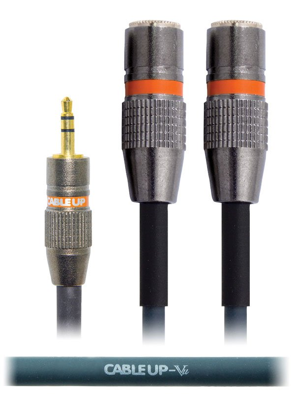 """6"""" 1/8"""" TRS Male to Dual 1/8"""" TRS Female Parallel Y-Cable"""