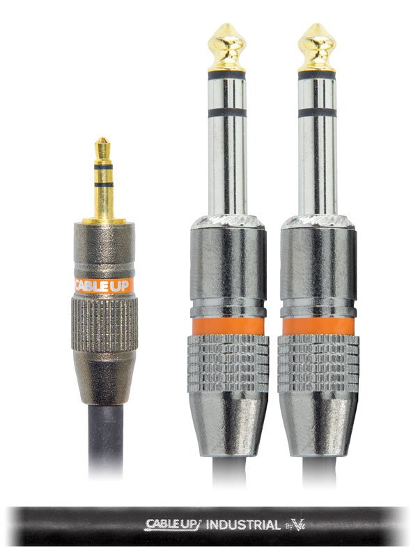 """3 ft 1/8"""" TRS Male to Dual 1/4"""" TRS Male Parallel Y-Cable"""