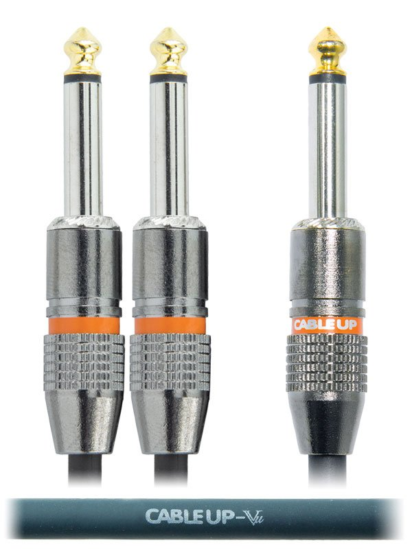 "6"" 1/4"" TS Male to Dual 1/4"" TS Male Parallel Y-Cable"