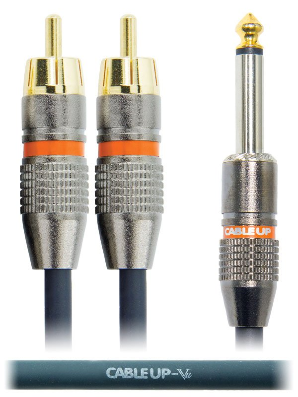 "6"" 1/4"" TS Male to Dual RCA Male Parallel Y-Cable"