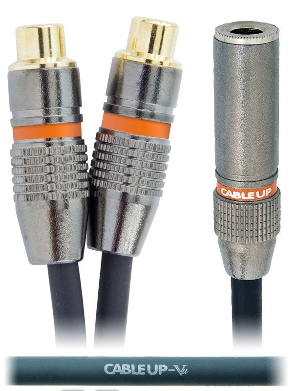 "6"" 1/4"" TS Female to Dual RCA Female Parallel Y-Cable"