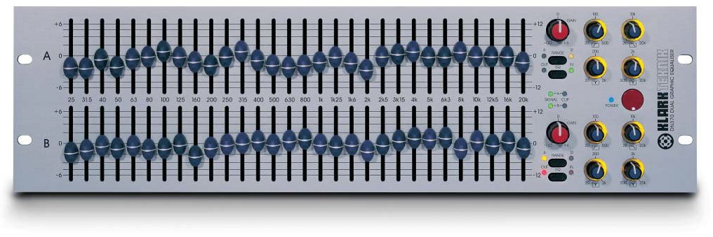 Klark Teknik DN370 Dual Channel 1/3 Octave Graphic Equalizer | Full