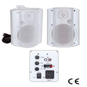 White Indoor Self-Amplified Surface-Mount Speaker Combo