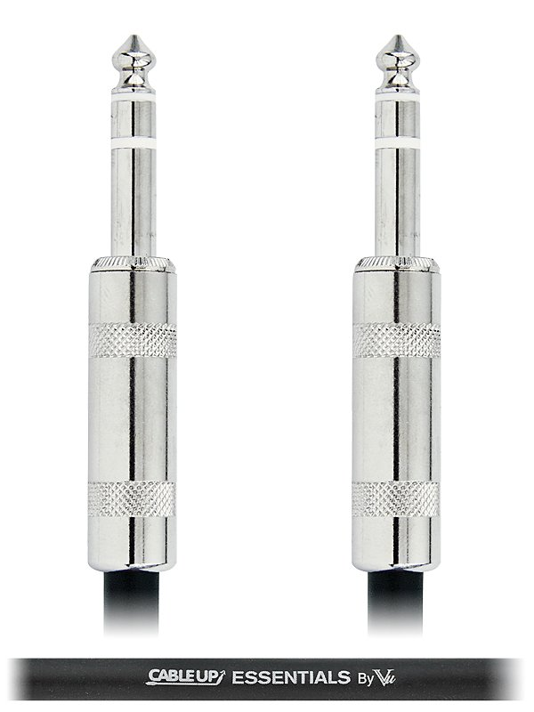 """1 ft 1/4"""" TRS Male to 1/4"""" TRS Male Balanced Cable with Silver Contacts"""