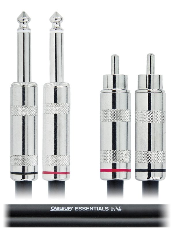 """3 ft Dual 1/4"""" TS Male to Dual RCA Male Unbalanced Cable"""
