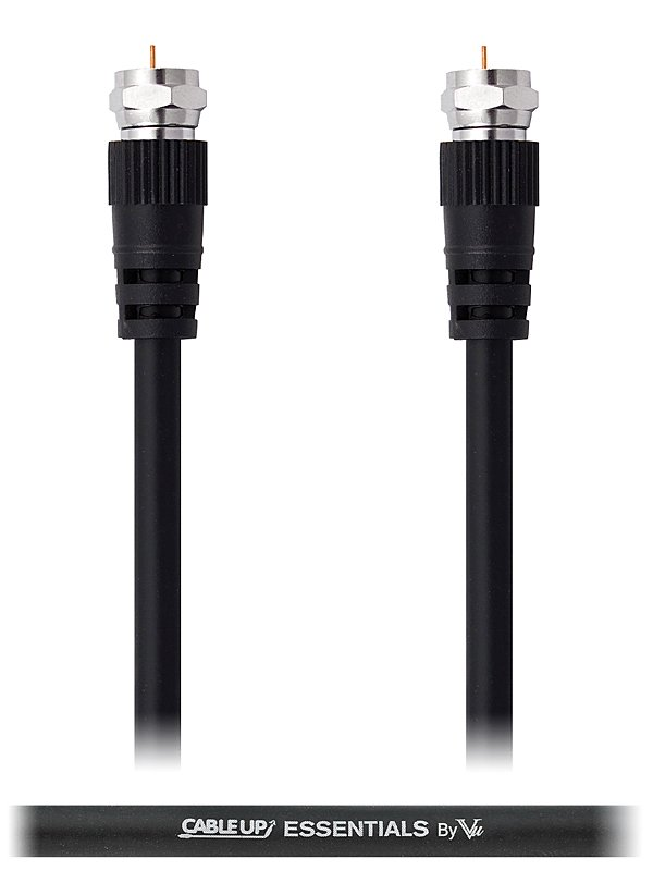 Cable Up by Vu FC-FC-V-3 3 ft F-Connector to F-Connector Coaxial Cable with Molded Connectors FC-FC-V-3