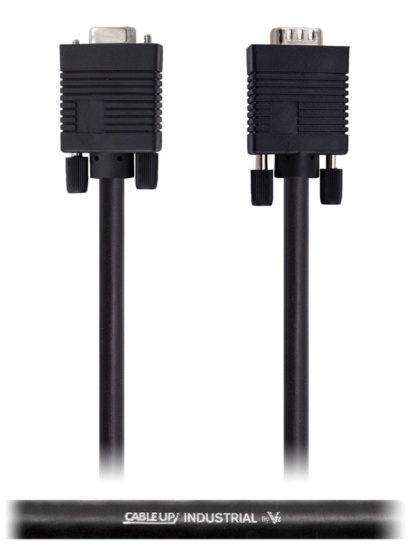 Cable Up by Vu VGADE15-MF-50 50 ft VGA Male to Female Extension Cable with DE15 Connectors VGADE15-MF-50