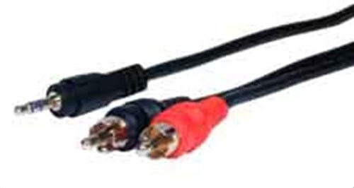 Cable, 3.5mm TRS to 2x RCA Male, 3ft